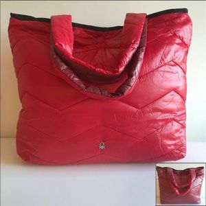 Benetton reversible puffy puffer tote bag
